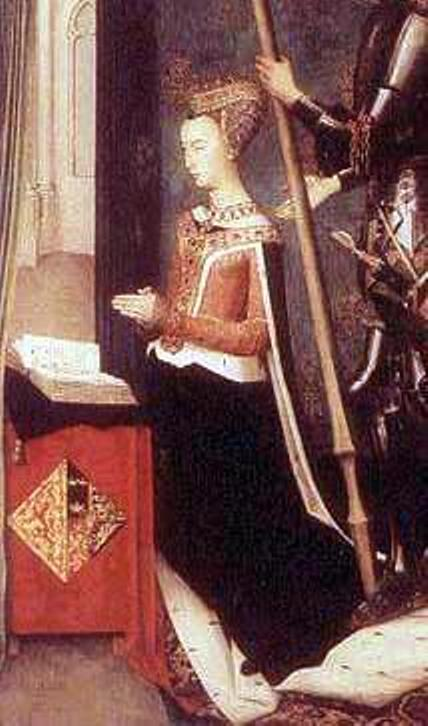 Margaret of Denmark, Queen of Scotland from the Trinity Altarpiece painted by Hugo van der Goes.