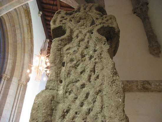 Celtic cross from the original church at Llandaff, Wales