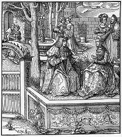 Engraving of Mary of Burgundy and her husband Archduke Maximilian