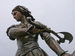 Statue of Jeanne Hachette in the town of Beauvais, France.  She's one of the heroines of the Siege of Beauvais.