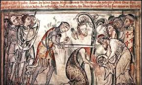 Page from a 13th C. manuscript depicting the martyrdom of St. Alban