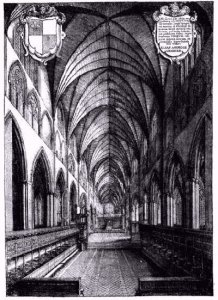 Engraving of the interior of Old St. Pauls Cathedral