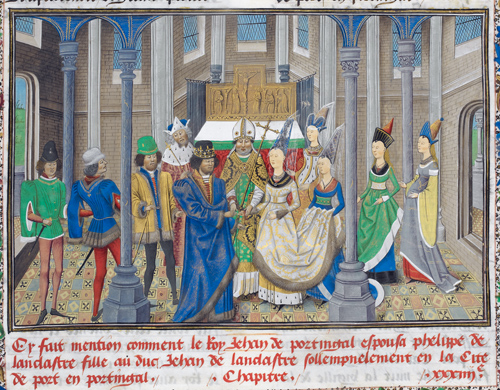 Illuminated image of the wedding of Philippa of Lancaster and King Joao I of Portugal