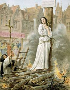 Depiction of Joan of Arc's burning at the stake from the 19th century