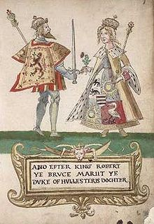 Elizabeth de Burgh and Robert the Bruce from the Seton Armorial