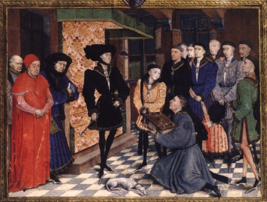 A miniature by Rogier Van der Weyden depicting Philip the Good, Duke of Burgundy with his young son, Charles, Count of Charolais