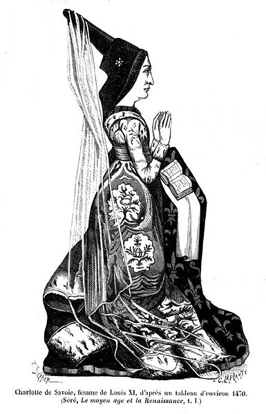 Charlotte of Savoy, second wife of King Louis XI.  19th C. engraving based on a sculpture c. 1472