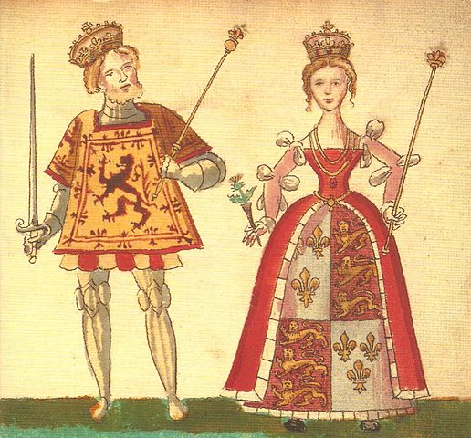 King James I of Scotland and his wife Joan Beaufort from the Forman Armorial, 1562