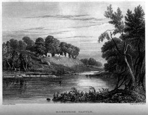 Engraving of the ruins of Roxburgh Castle by William Miller, 1830