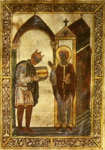 King Aethelstan presenting a book to St. Cuthbert