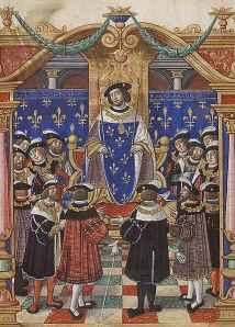 King Louis XI of France surrounded by the Knights of the Order of St. Michael