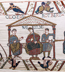 The three sons of Herleva of Falaise: William, Duke of Normandy in the center, Odo, the bishop of Bayeux on the left and Robert, Count of Mortain on the right (Bayeux Tapestry, 1070s)