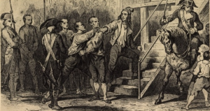 Drawing of Marie-Jean Hérault de Séchelles being led to his execution