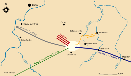 Map of the Battle of Val-ès-Dunes.  By Pethrus via Wikimedia Commons