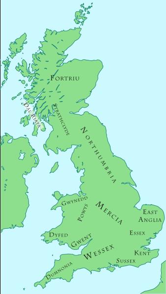 Map of British Kingdoms c. 800 AD