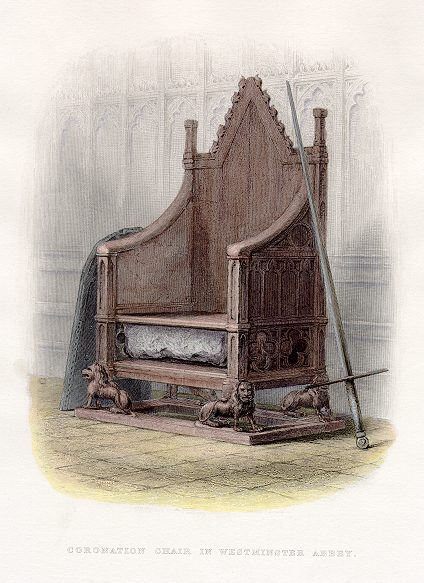 The Stone of Scone in the Coronation Chair in Westminster Abbey (Image in the public domain)