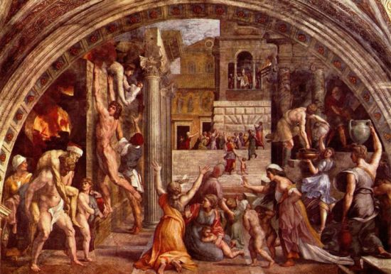 "Fresco in the Vatican:  The Fire in the Borgo"" by Raphael, 1514  (Image in the public domain)"