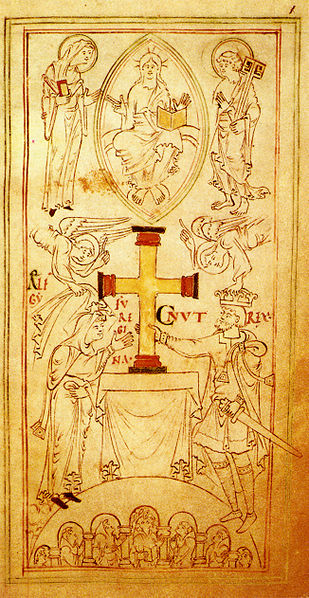 Drawing depicting Queen Emma (Aelfgifu) and King Cnut (Image in the public domain)
