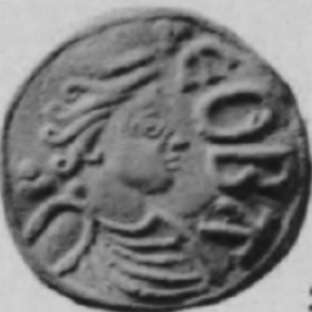 Coin with the image of Cynethryth, Queen of the Mercians