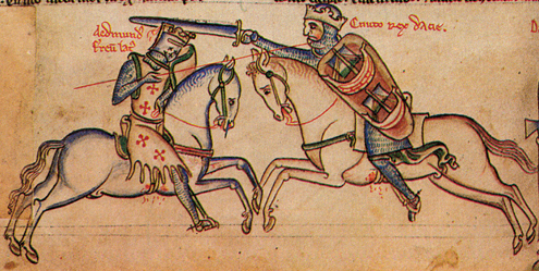 Edmund Ironside fights King Canute at the Battle of Assandun on October 18, 1016 (Image in the public domain)