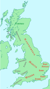 Map of England c. 800 AD