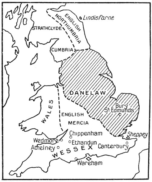Map of England including the area known as the Danelaw