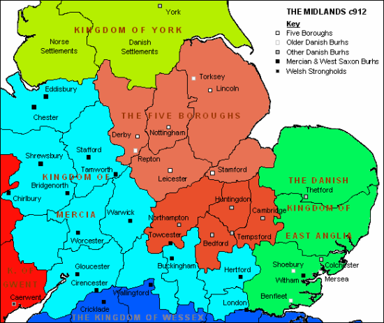 Map of the Midlands of England c. 912 showing the Five Boroughs and Danish areas (Image by Robin Boulby from Wikimedia Commons)