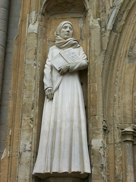 Statue of Julian of Norwich outside Norwich Cathedral