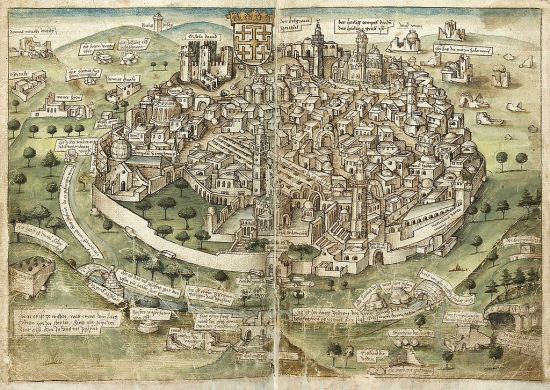 Image of Jerusalem as it appeared in 1487 by Konrad Grünenberg