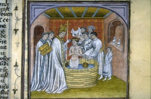 Depiction of the baptism of Rollo, from a fourteenth-century French manuscript, Toulouse Library.