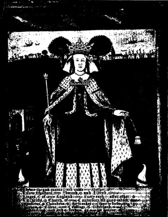 "Picture of Queen Eadgifu from ""The Saxon Cathedral at Canterbury and The Saxon Saints Buried Therein"""