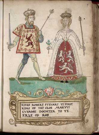 Queen Euphemia and Robert II, King of Scots from the Forman Armorial, 1562