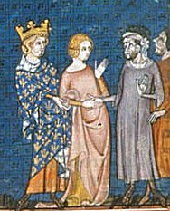 Fourteenth century depiction of Charles the Simple giving his daughter to Rollo