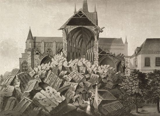 View of the ruins of the West Tower of Hereford Cathedral by I. Wathen, 1788