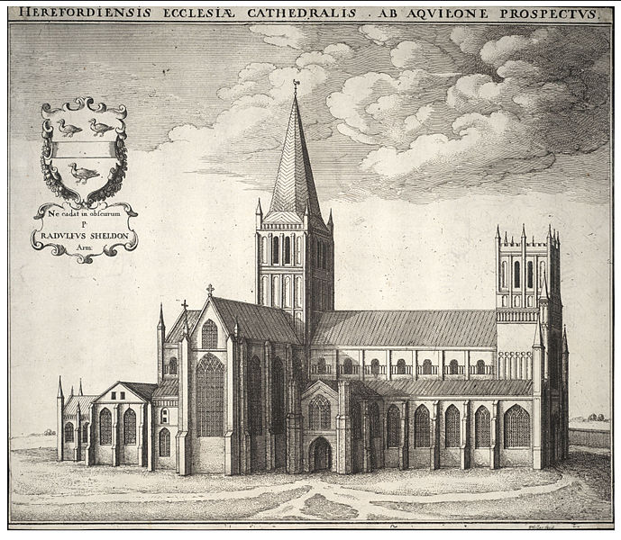 View of Hereford Cathedral as it looked in the 17th Century by Wenceslas Hollar