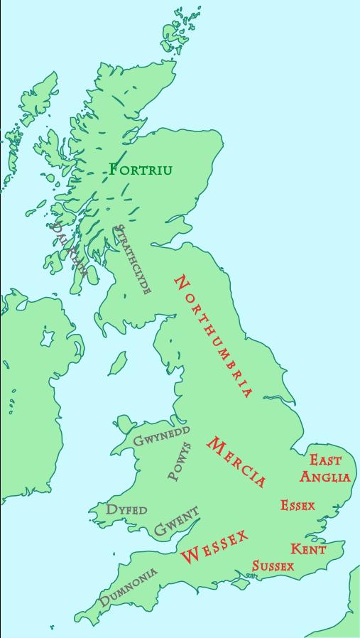 Map of British Kingdoms, c. 800 AD