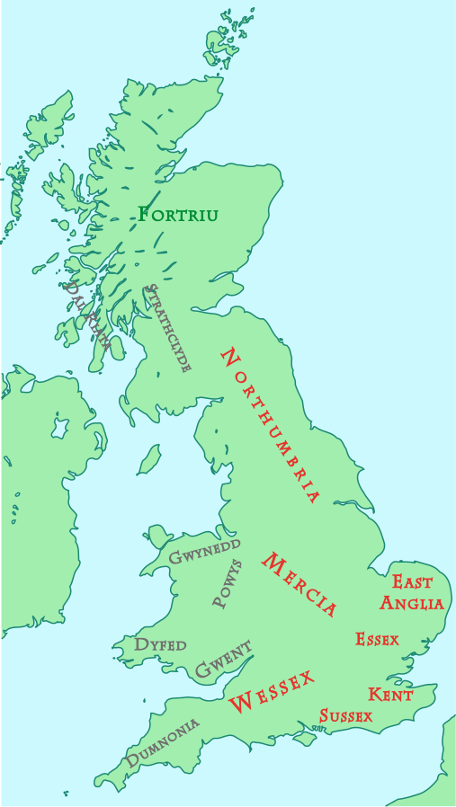 Map of British Kingdoms, c. 800 AD