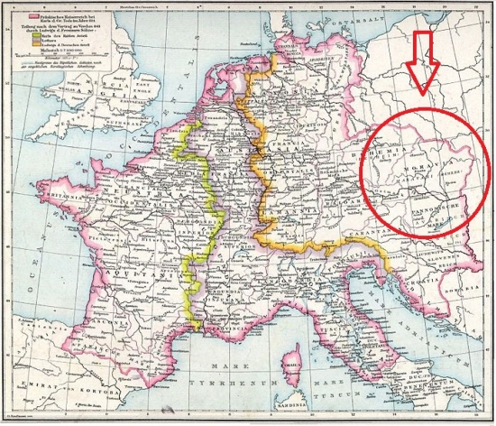 Map of Central Europe in Carolingian times denoting the area of Moravia