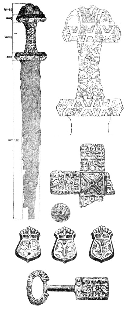 Drawings of ninth century artifacts from Moravia