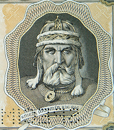 Depiction of Mojmir I on a banknote of the Slovak State