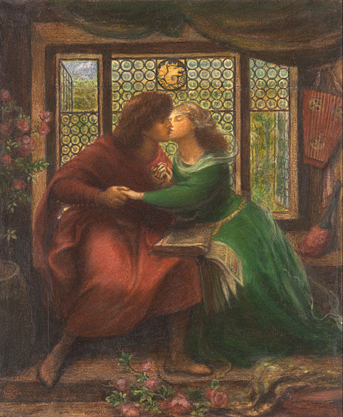 Painting of Paolo and Francesca da Rimini by Dante Gabriel Rossetti