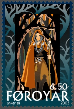 A depiction of a Völva on a Faroese stamp by Anker Eli Petersen (2003)