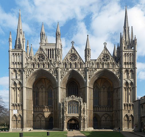 Peterborough Cathedral.  Image by NotFromUtrecht, Wikimedia Commons