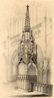 14th Century bishop's throne and canopy in Exeter Cathedral