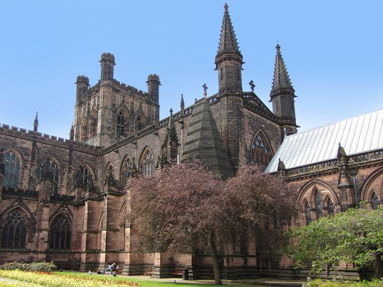 East side of Chester Cathedral (Photo by Stephen Hamilton from Wikimedia Commons)