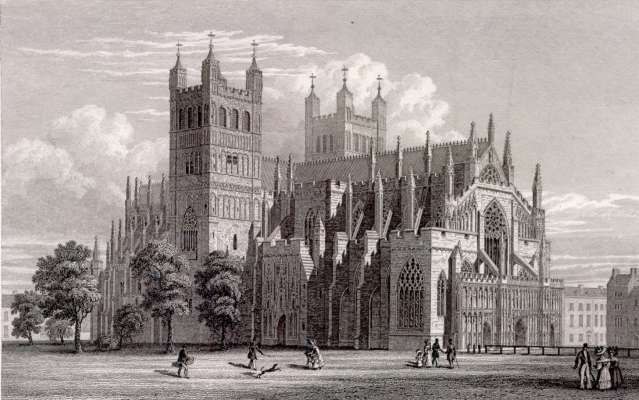 Exeter_Cathedral_NW_view_W_Deeble_after_R_Browne_1830