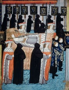 Funeral of Anne, Queen of France from an illuminated manuscript in the Biblioteca Marciana, Venice, Italy