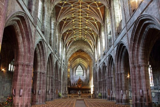 Nave of Chester Cathedral (Photo by Michael D. Beckwith from Wikimedia Commons)