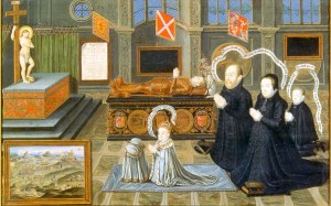 Margaret and her family kneeling in front of a memorial to her son, Lord Darnley
