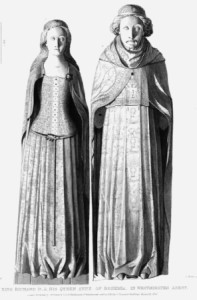 Etching of the effigies of the tomb of Anne of Bohemia and King Richard II in Westminster Abbey